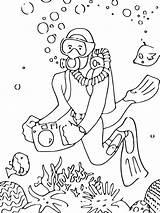 Scuba Coloring Diving Printable Mycoloring sketch template
