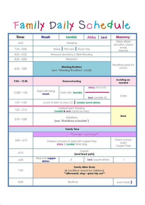 family daily routine schedule template daily schedule