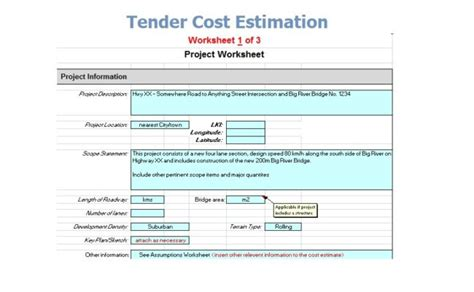 tender cost estimation spreadsheet