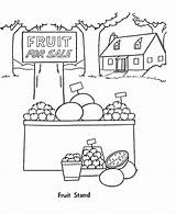 Coloring Pages Fall Fruit Stand Food Harvest Sheets Cart Season Template Sketch Activity Templates Comments Honkingdonkey Go sketch template