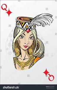 Queen Of Diamonds. Deck Romantic Graphics Cards Stock ...