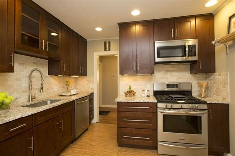 cherry java cabinets contemporary kitchen with flush light american woodmark