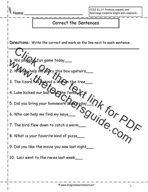 grade sentences worksheets ccss lf worksheets