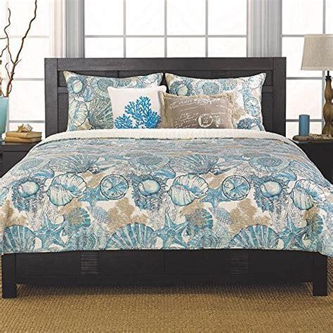 coastal bedding sets brushed ashore teal and brown coral seashell quilt set