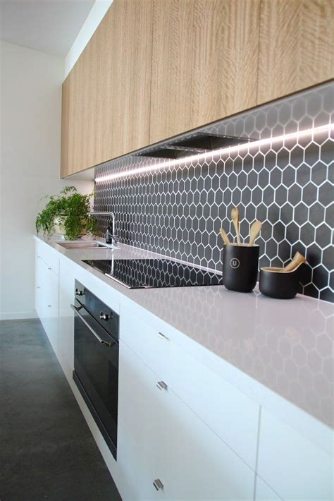 feature tiles kitchen split kitchen detail white and timber black hexagon 3724