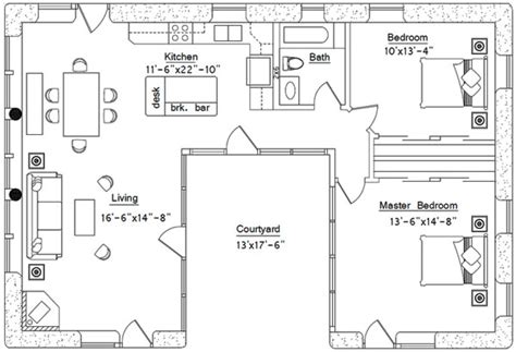 U Shaped Home Designs : U-shaped House Plan
