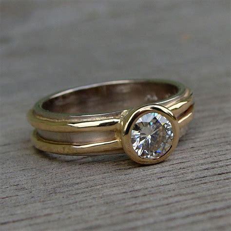 hand made moissanite wedding ring recycled 14k yellow
