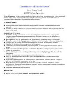 sample sales representative job description With sales rep job description template