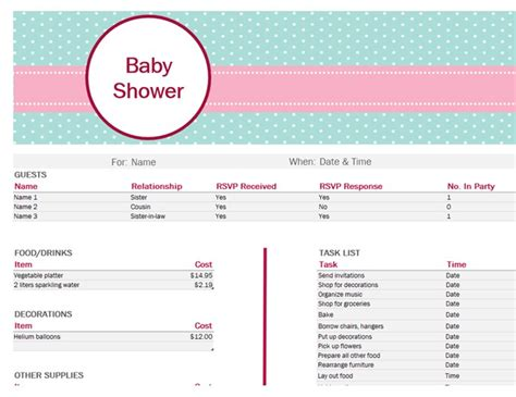 Baby Shower Planner Template by Baby Shower Planner Templates 9 Free Docs Xlsx Pdf