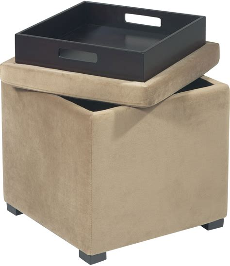 cube ottoman with tray avenue six detour storage cube ottoman with tray coffee