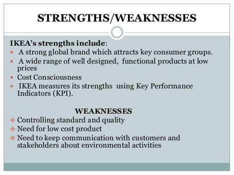 Key Strengths And Weaknesses In by Swot Analysis For Ikea