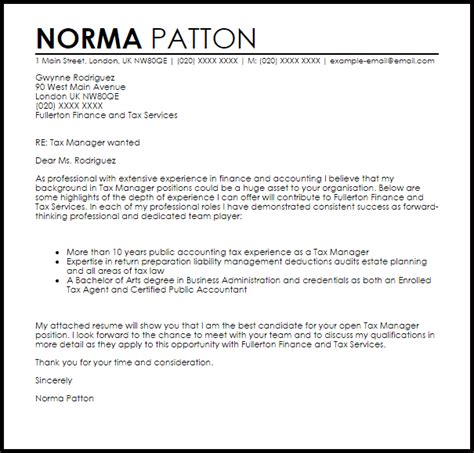 tax manager cover letter sample cover letter templates