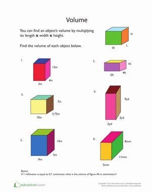 calculating volume worksheet education