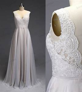 ivory lace wedding dress v back open bridal gown chiffon With cloth for wedding dresses