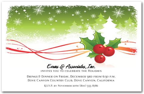 holly  snowy pine trees holiday invitations christmas