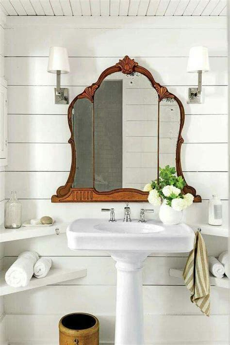 Modern Bathroom Sink And Mirror by Vintage Mirror Above Pedestal Sink In Bathroom Bathroom
