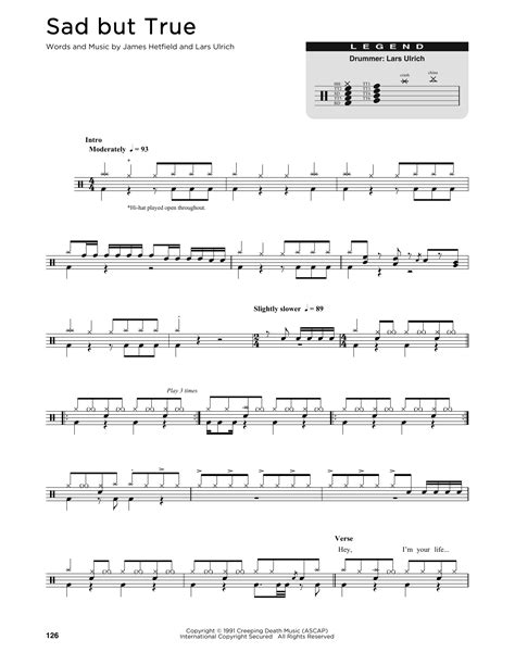 sad  true sheet  metallica drums transcription