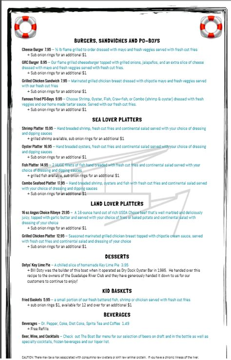 The Boat Oyster Bar And Grill the boat menu page 2 yelp
