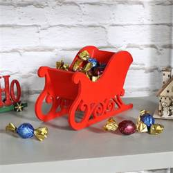 red wooden christmas santa sleigh sledge decoration free standing storage