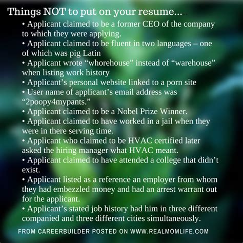 Things Not To Write In A Resume by Family And Parenting Archives Real