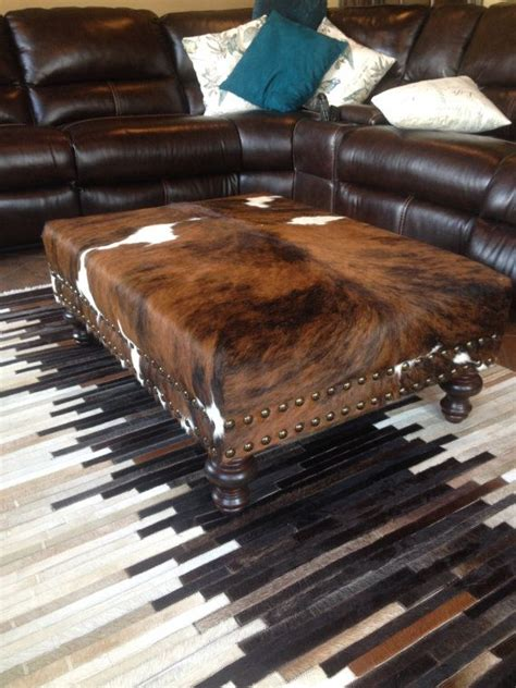 Cowhide Table custom build cowhide ottoman coffee table bench with nail
