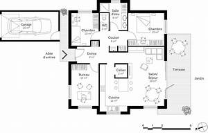 Plan maison moderne avec 3 pieces ooreka for Plan de maison 2 pieces 2 plan maison moderne de plain pied 3 chambres ooreka