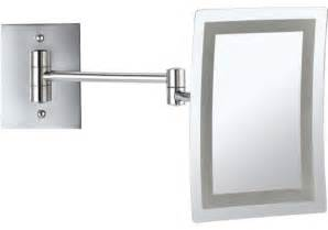 wall mounted square led 3x makeup mirror contemporary