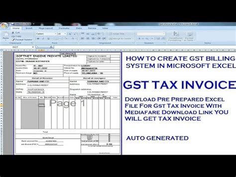 create gst tax invoice  excel  gst invoice