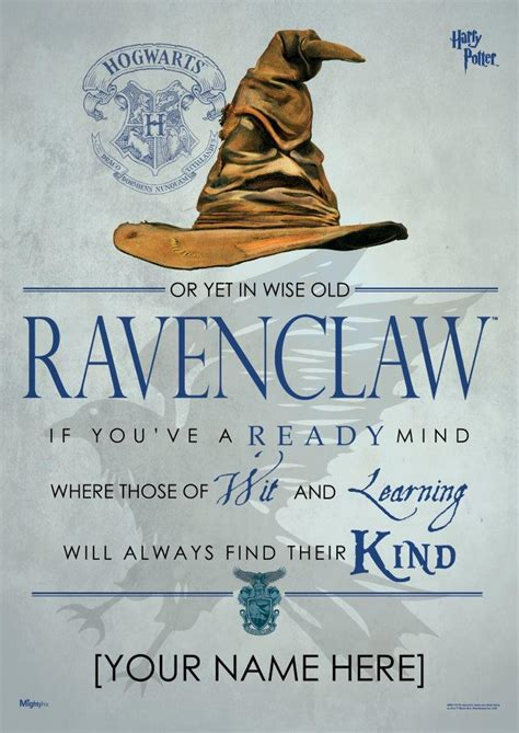 harry potter sorting hat ravenclaw personalized mightyprint wall art