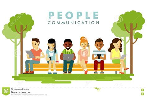 modern society communication concept in flat style stock vector image 75885528