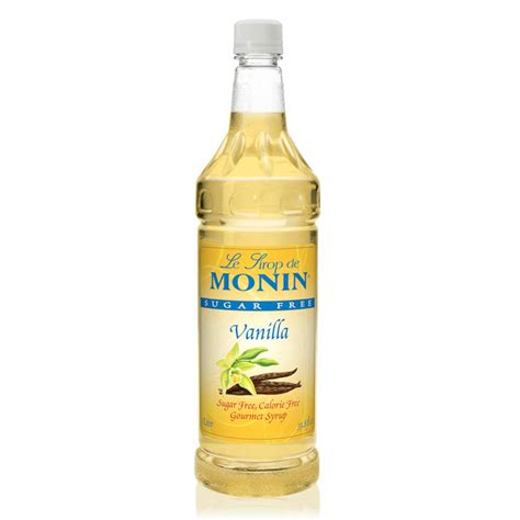 Water, erythritol, natural flavor, citric acid, xanthan gum, stevia, and natural color. Monin - Sugar Free Vanilla Syrup, Great For Flavoring Coffee, Shakes, And Cocktails (1 Liter ...