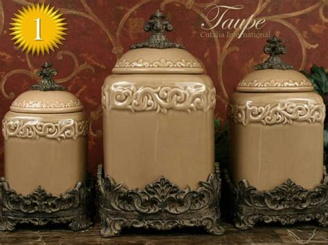 "Drake Design ""Taupe"" Large Kitchen Canister Set of 3 (Top"