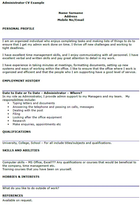 Personal Profile Resume Admin by Administrator Cv Exle Icover Org Uk
