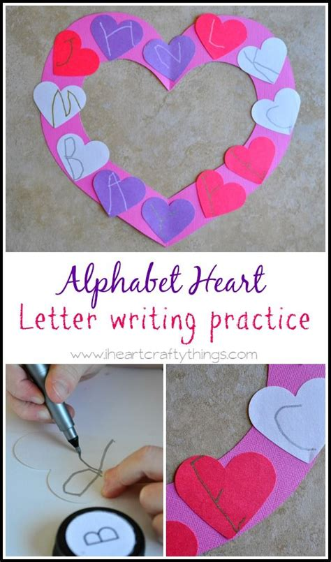alphabet heart letter writing practice crafts valentine