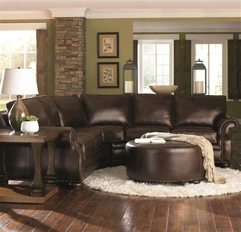 brown sofa living room decor chocolate brown leather sectional w round ottoman