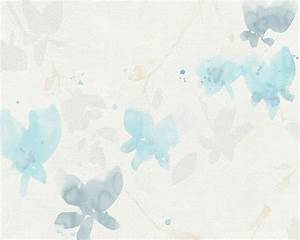 Floral Blossom Wallpaper in Ivory and Light Blue design by ...