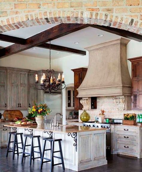 distressed finish cabinets country kitchen