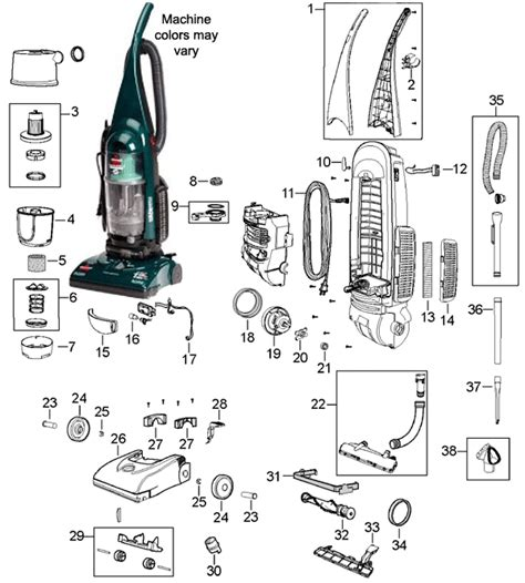bissell 3574 cleanview ii upright bagless vacuum cleaner parts