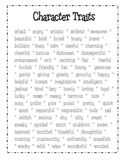 character trait descriptive words and character traits