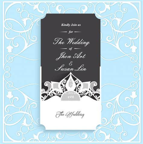 Black wedding invitation card template Premium Vector