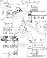 Coloring Christmas Pages Printable Fairy Colouring Graphics Town Village Pdf Sheets Printables Adults Adult Merry Houses Thegraphicsfairy Drawings Villages sketch template