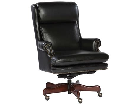 hekman office executive leather chair with brass nailhead