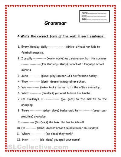 worksheets printable grammar verb tenses