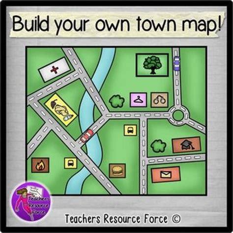 build   town map clip art color  black