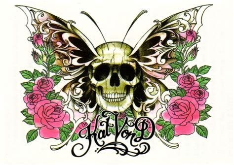 sexy hot kat von  pink roses butterfly skull butterfly temporary tattoo ebay