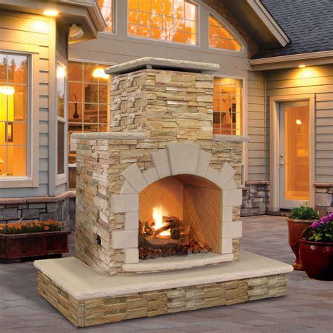 Calflame Natural Stone Propane Gas, Outdoor Fireplace,log