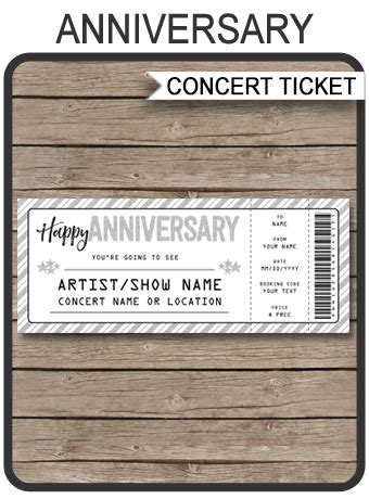 anniversary concert gift ticket template surprise