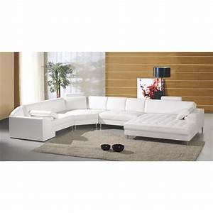 Grand Canapé D Angle : grand canap d 39 angle panoramique en cuir blanc king achat vente canap sofa divan ~ Teatrodelosmanantiales.com Idées de Décoration