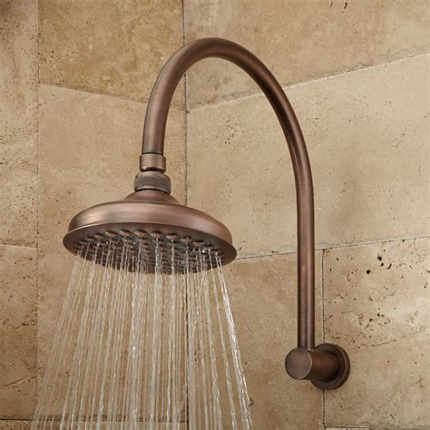 shower rubbed bronze roux rainfall shower with modern arm rubbed