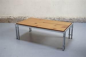 Table Basse Vintage Chrome Et Bois Dans L39esprit De Knoll